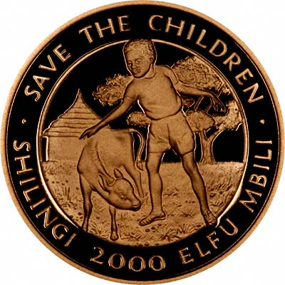 Reverse of 1990 Tanzania 'Save the Children' 2,000 Shilingi
