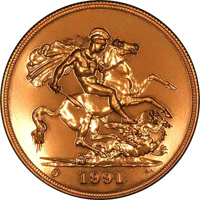 Reverse of 1991 B.U. Five Pounds Gold Coin
