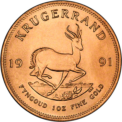 Reverse of One Ounce Gold Krugerrand