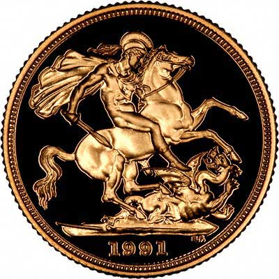 Reverse of 1991 Gold Sovereign