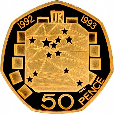 Reverse of 1992 - 1993 EU Gold Proof Fifty Pence