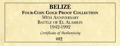 1992 Belize 4 Coin Set Certificate