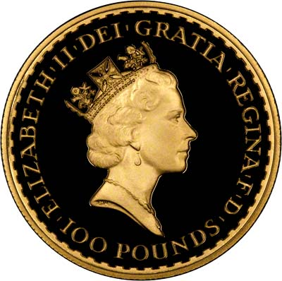 Obverse of 1992 One Ounce Gold Proof Britannia