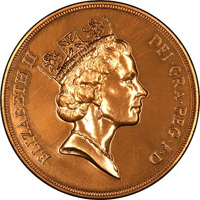 Raphael Maklouf Portrait of Queen Elizabeth II on Obverse of 1992 Brilliant Uncirculated Five Pound Gold Coin