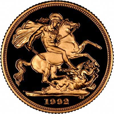 Reverse of 1992 Gold Proof Two Pound