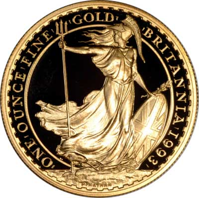 Reverse of 1993 One Ounce Gold Proof Britannia