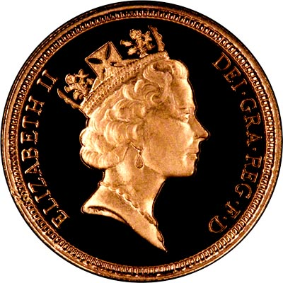 Obverse of 1993 Proof Half Sovereign