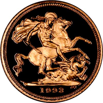 Reverse of 1993 Proof Half Sovereign