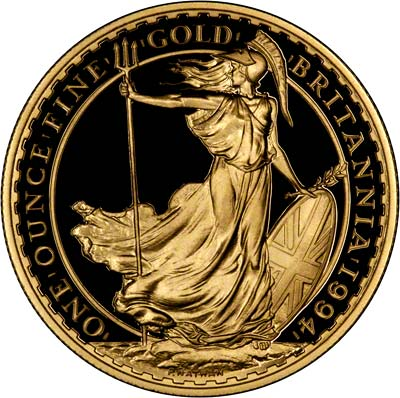 Reverse of 1994 Proof One Ounce Gold Britannia