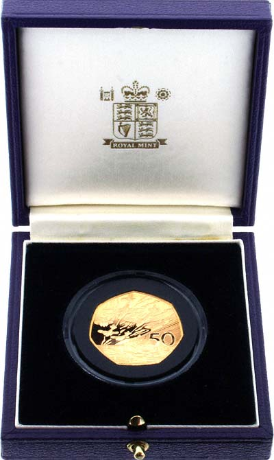 1994 EU Gold Proof Fifty Pence in Box