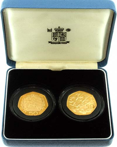 1992/93 - 1994 EC Presidency & D-Day Gold Proof Fifty Pences in Presenation Box