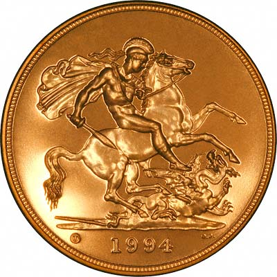 Reverse of 1994 'Brilliant Uncirulated' Five Pounds Gold Coin