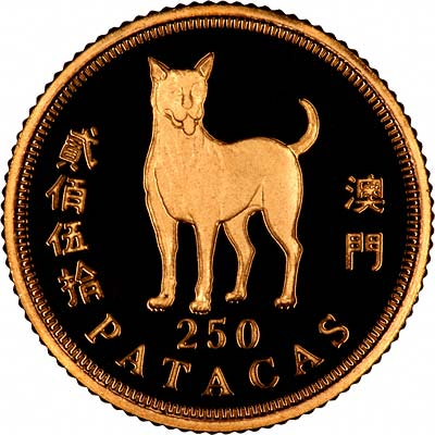 Dog on Reverse of 1994 Macau 250 Patacas