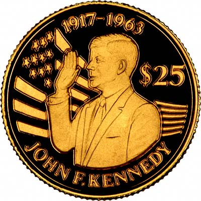 John F. Kennedy on Reverse of 1994 Niue Gold 25 Dollars