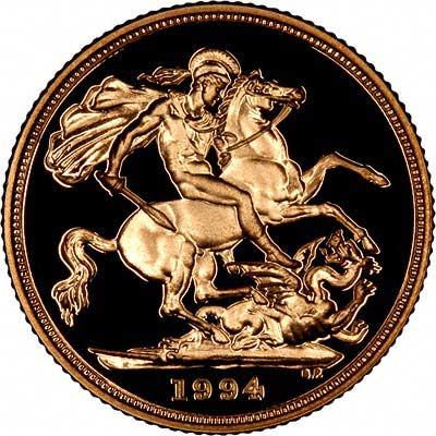 Reverse of 1994 Gold Sovereign