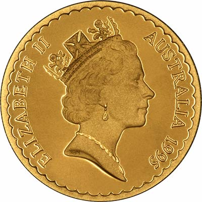 Obverse of 1995 Australian $100 Gold Proof Coin