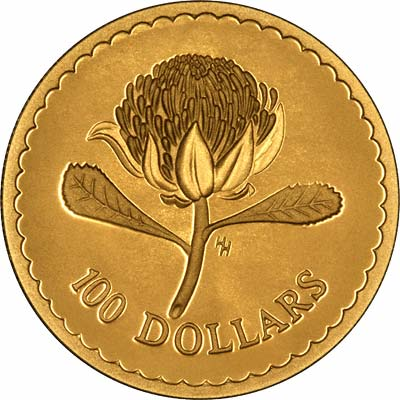 Waratah Flower on Reverse of 1995 Australian $100 Gold Proof Coin