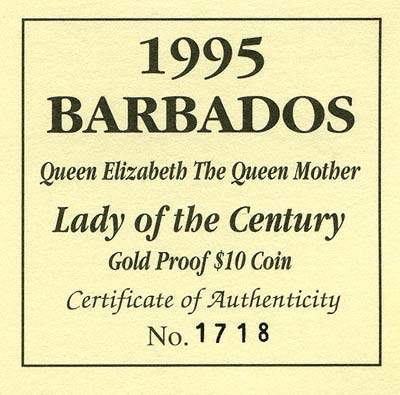 1995 Barbados Gold Proof $10 Certificate