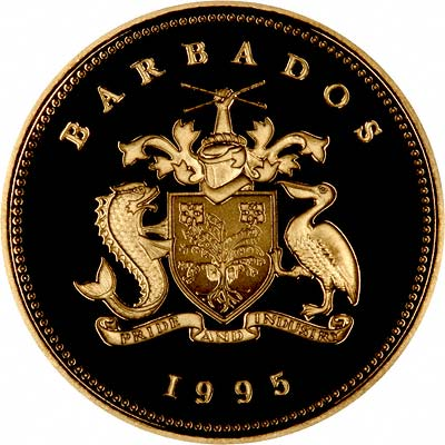 Obverse of 1995 Barbados Gold Proof $10