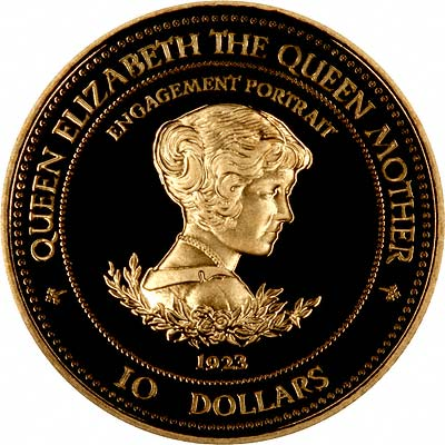 Queen Mother on Reverse of 1995 Barbados Gold Proof $10