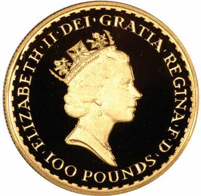 Obverse of 1993 Gold Proof One Ounce £100 Britannia
