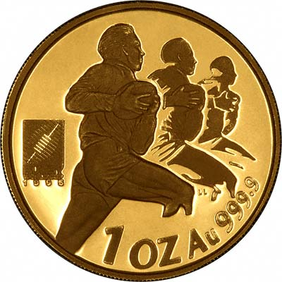 Rugby Players on Obverse of 1995 Proof Protea One Ounce Coin