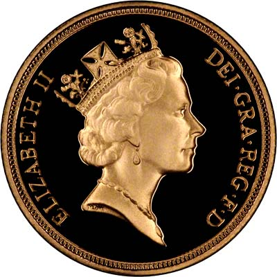 Obverse of 1995 Gold Proof Sovereign
