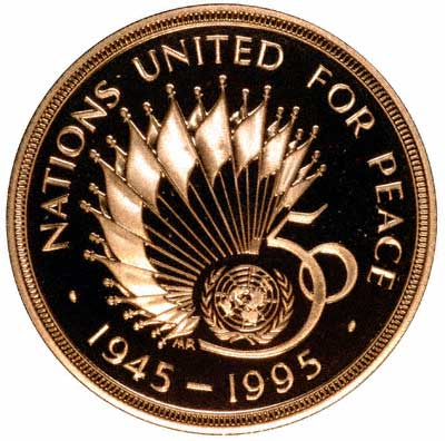 Reverse of 1995 United Nations Gold Proof Two Pounds