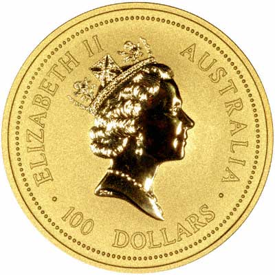 Obverse of 2004 Australian One Ounce Gold Coin