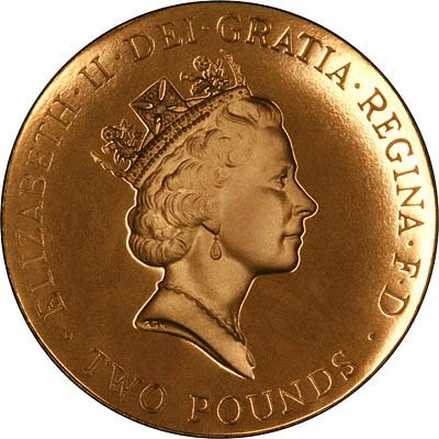 Obverse of 1996 £2 Gold Proof
