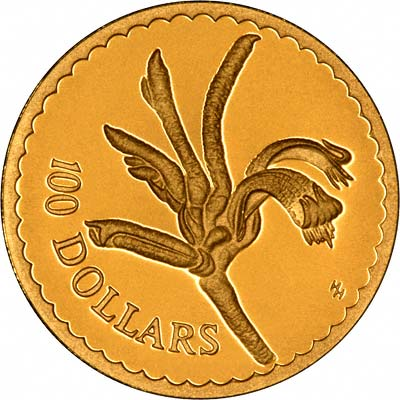 Mangles' Kangaroo Paw Flower on Reverse of 1997 Australian $100 Gold Proof Coin