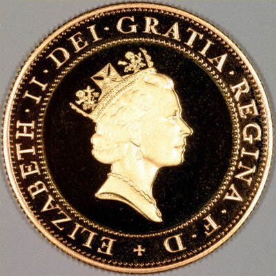 Obverse of 1997 Gold Proof Two Pound Coin