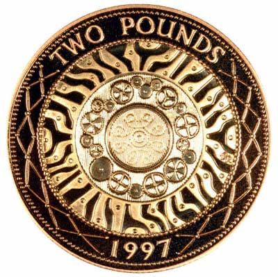 Reverse of 1997 Gold Two Pound Coin