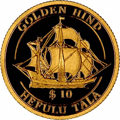 Golden Hind on Reverse of 1997 Tokelau Gold Ten Dollars