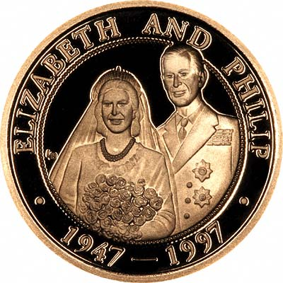 The Queen & Prince Philip on Reverse of 1997 Turks and Caicos 25 Crowns