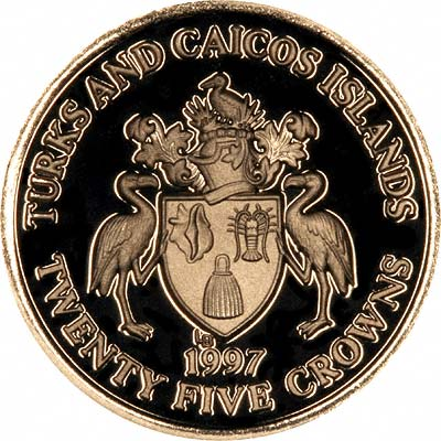 Obverse of 1997 Turks and Caicos 25 Crowns