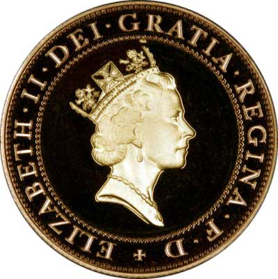 Obverse of 1997 Elizabeth II Gold Two Pounds