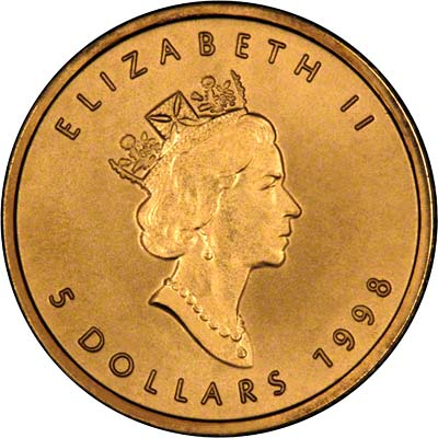 Obverse of 1998 Canadian Tenth Ounce Gold Maple Leaf