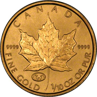 Reverse of 1998 Canadian Tenth Ounce Gold Maple Leaf
