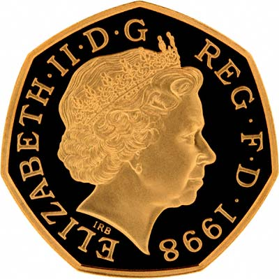 Reverse of 1998 NHS 50th Anniversary Fifty Pence Gold Proof