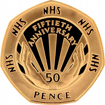 Obverse of 1998 Fifty Pence Gold Proof