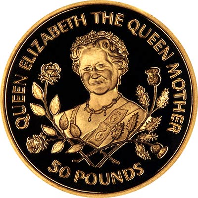 Queen Mother on Reverse of 1998 Guernsey £50 Gold Proof Coin