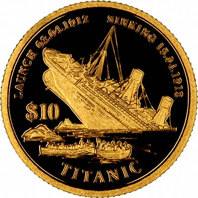 The Titanic on Reverse of 1998 Kiribati Gold 10 Dollars