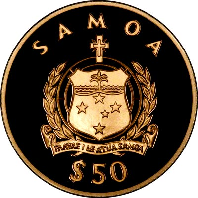 Obverse of 1998 Samoa $50 Lady of the Century Gold Coin