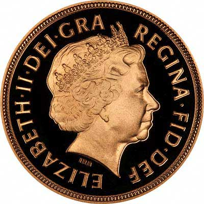 Obverse of 1998 Gold Proof Sovereign