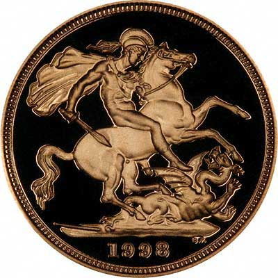 Reverse of 1998 Gold Proof Two Pounds