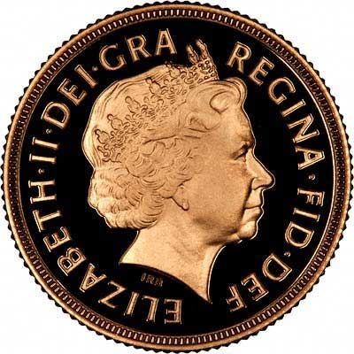 Obverse of Elizabeth II Proof Half Sovereign