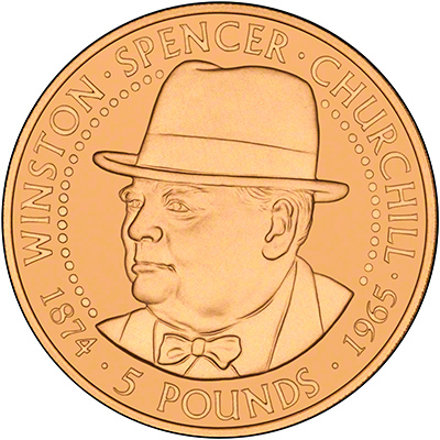 1999 Alderney & Guernsey 125th Anniversary of the Birth of Winston Churchill Gold Proof Five Pound Coin Set