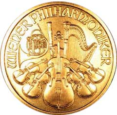 Reverse of 1999 One Ounce Gold Austrian Philharmoniker