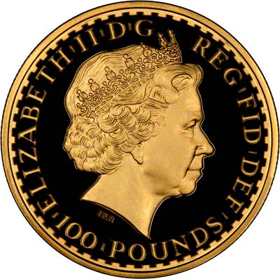 Reverse of Half Ounce Gold Proof Britannia